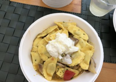 Ravioli with mushroom and burrata at La Pastasciutta, Ostuni, Puglia, Italy